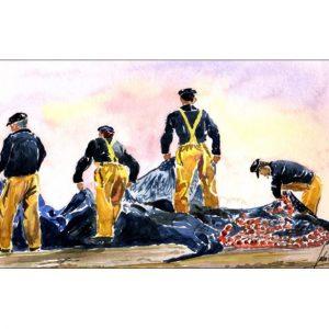 Les filets bleus et marins pêcheurs aquarelle JP Duboil