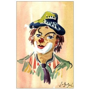 Expression de clown - Aquarelle de JC Duboil