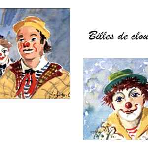 Billes de clowns - Aquarelles de JC Duboil