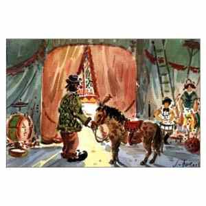 Clown en coulisse - Aquarelle de JC Duboil