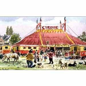 Un après-midi au cirque - Aquarelle de JC Duboil