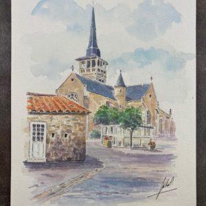Église de l'Île d'Olonne - Aquarelle de Jean-Pascal Duboil