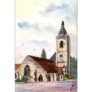 Église Saint-Hilaire - Nogent-le-Rotrou - Aquarelle de Jean-Pascal Duboil