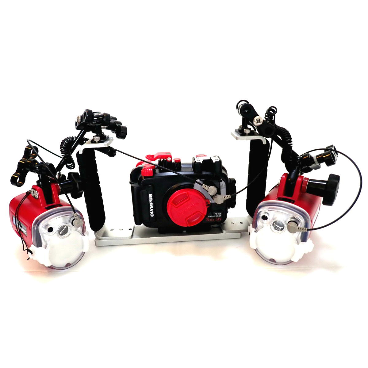 オリンパス TG-5 + PT-058(TG-5用防水プロテクター) + MPBK-02(両手グリップ)+ MPアームSセット + UFL-3フラッシュ(2灯)
