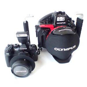 OLYMPUS OM-D E-M1MarkⅡ、防水プロテクター PT-EP14 店頭展示器材