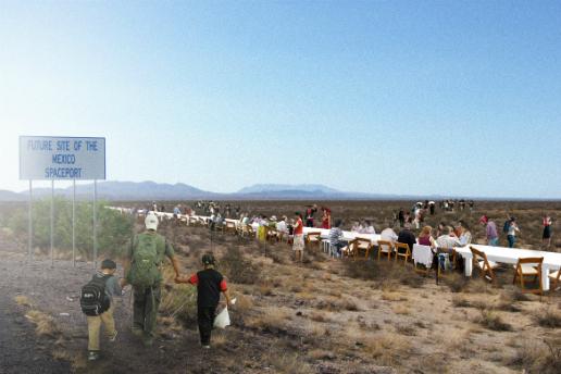 No-To-Scale Studio がトランプ大統領により計画されているメキシコ国境の壁を 3144km のダイニングテーブルでイメージ