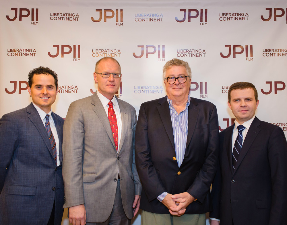 he premiere of documentary Liberating a Continent: John Paul II and the Fall of Communism took place at the Copernicus Center Dec. 6. From left to right: Director David Naglieri, Robert Rusiecki, Deputy Consul General of Poland in Chicago, Paul Hensler, event partner and filmmaker, and producer Szymon Czyszek. (Photo by Melinda Collins/Spirit Juice Studios)