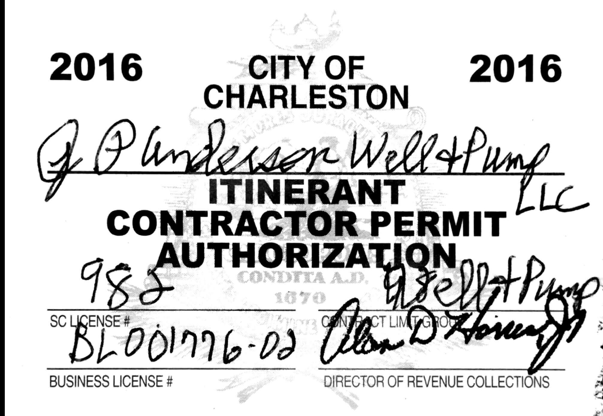 City Of Charleston Sc Well Drilling
