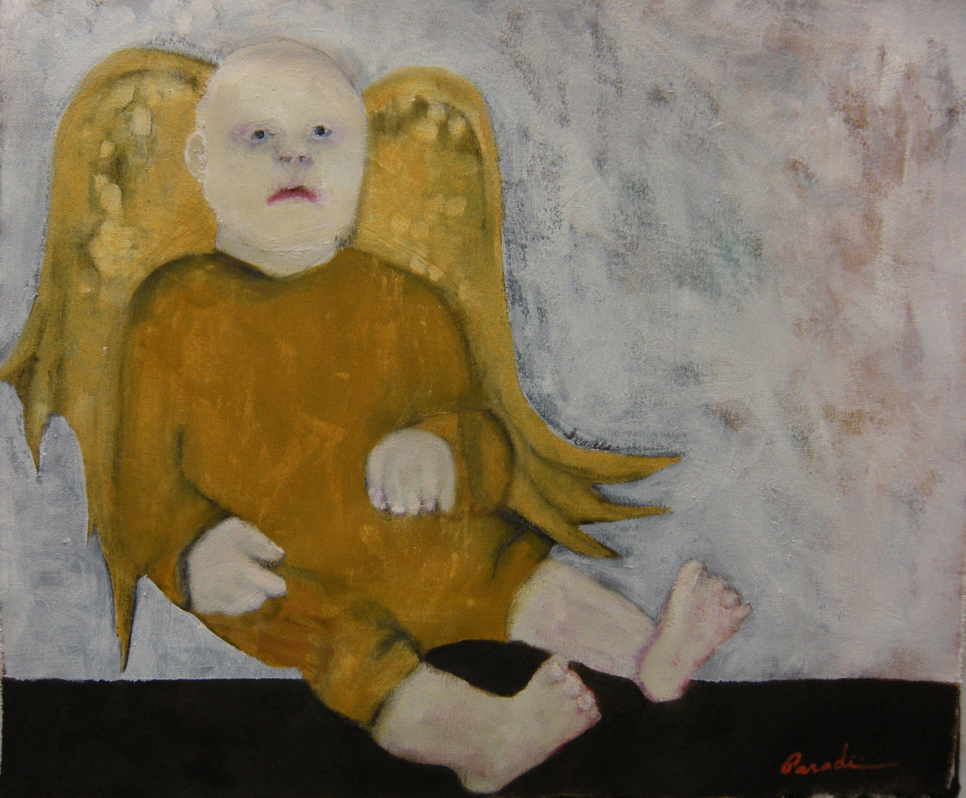 Icarus oil on unstretched canvas 2009 by J.Paradisi