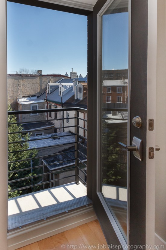 Interior photographer work: door to balcony in master bedroom on 3rd floor
