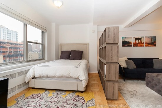 Apartment photographer ny new york real estate union square interior photography Manhattan alcove studio bedroom area