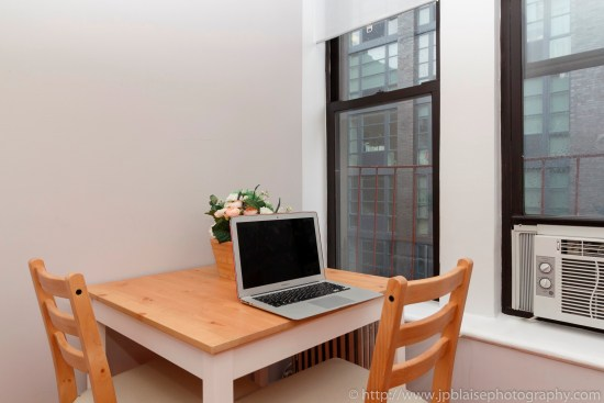 NY apartment photographer Lower East Side one bedroom real estate interior photography table