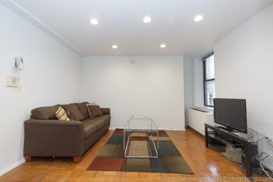 NYC apartment photographer one bedroom midtown Manhattan living room