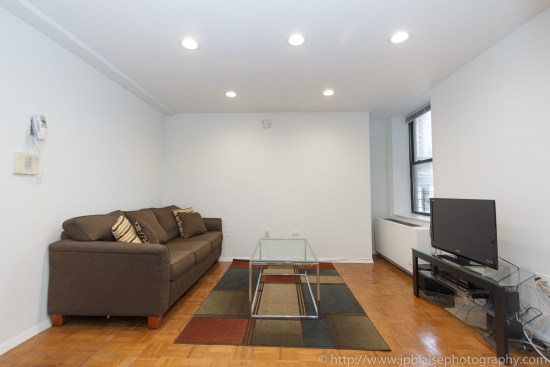NYC apartment photographer one bedroom midtown Manhattan living room