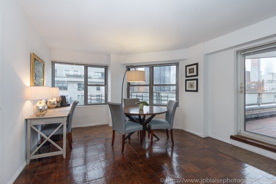 New York City apartment photographer two bedroom unit on the Upper East Side dining area