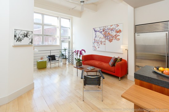 New York Interior photographer work : living room of a Williamsburg Loft in Brooklyn