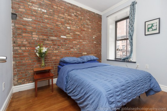 Apartment photographer took this picture of the master bedroom of an east village apartment in New York City