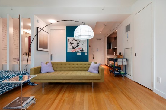 Real estate photographer apartment studio Wall street downtown new york city ny nyc living area