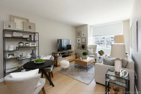 Interior photographer work: picture of the living room of a Midtown west one bedroom apartment, new york city
