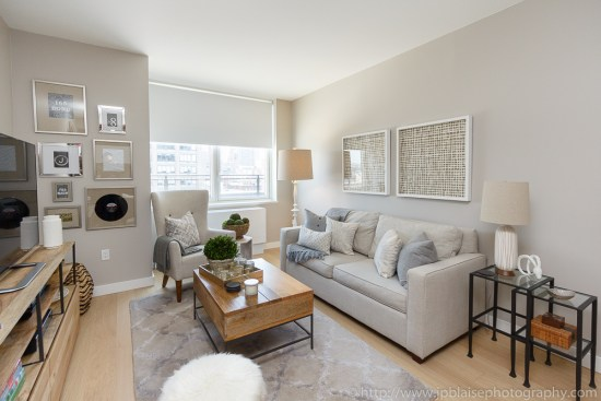 NY Apartment photographer: picture of the living room of a Midtown west one bedroom apartment