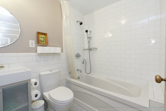 Professional photography of bathroom in three bedroom apartment in Brooklyn, New York
