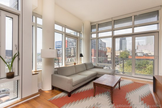Professional photography of living room of Two-Bedroom – Two-Bathroom Luxury Condominium in Long Island City, Queens