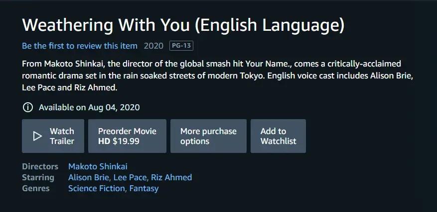 Stream Tenki No Ko on Amazon Prime