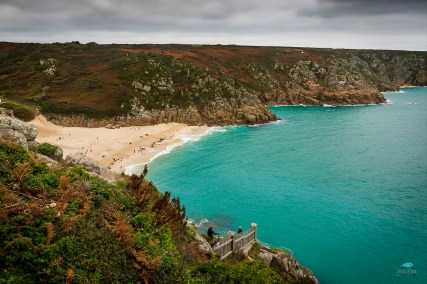 Porthcurnow Beach from the top of the Minnack Theatre steps