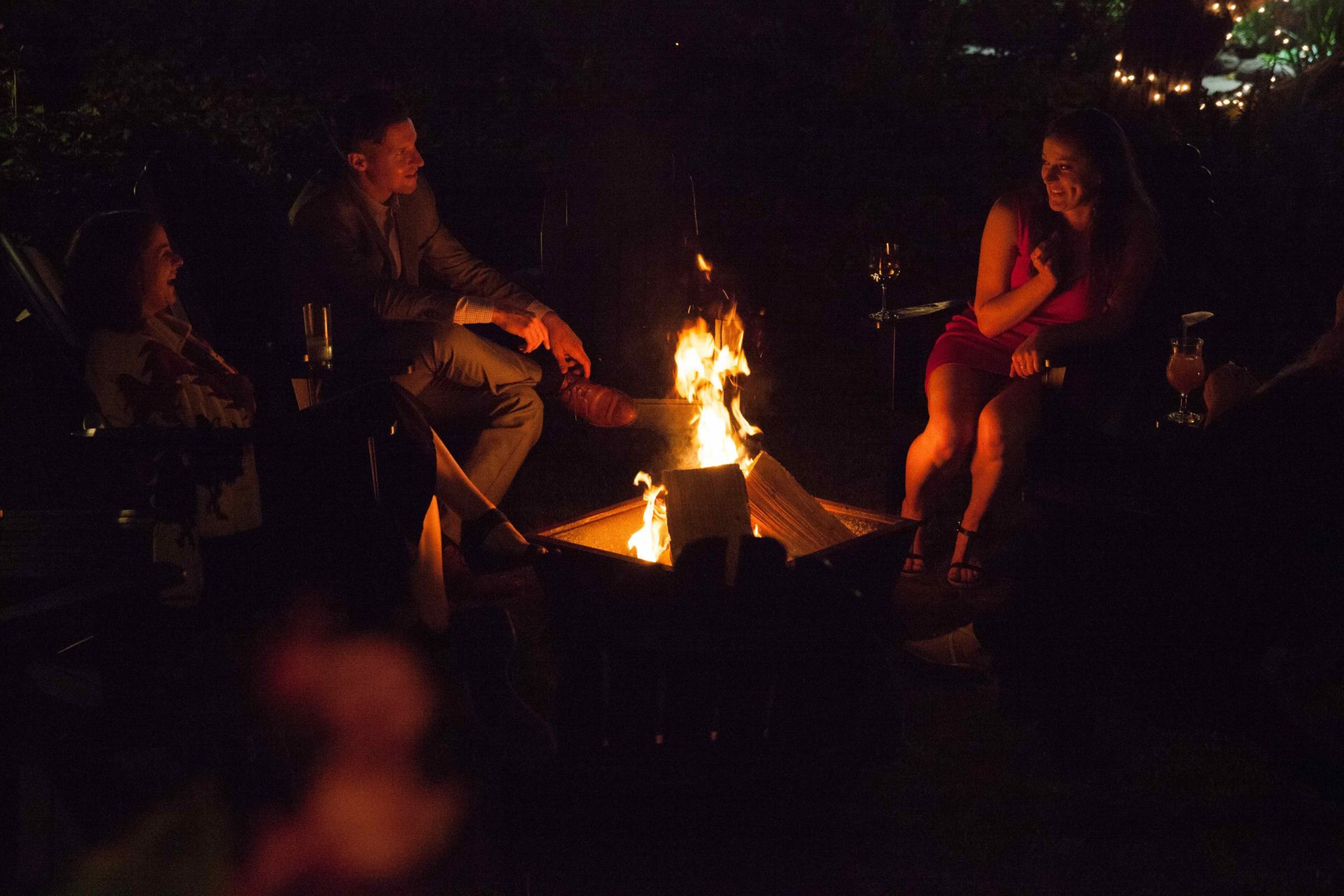 Campfire on the grounds of the historic Maccallum House Inn.