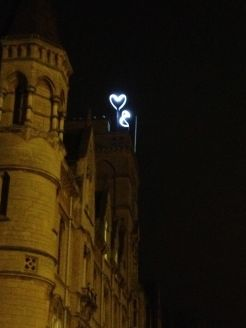 Speaking of adoration, Balliol college with Oxford Blue heart lit at night.