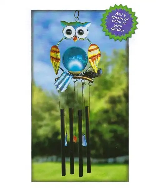 Owl Wind Chime With Solar LED Light Outdoor