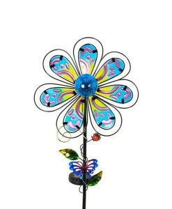 Paisley Flower Stake - Fused Glass with Center Solar Light