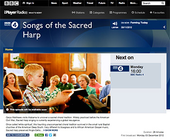 """Songs of the Sacred Harp"" will air on BBC Radio 4 Monday, December 3, at 4 pm GMT (11 am EST)."