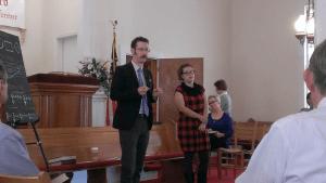 Jesse P. Karlsberg and Lauren Bock teach a singing school at Long Cane Baptist Church, near LaGrange, Georgia, October 27, 2014.