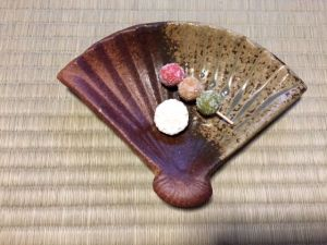 扇面の銘々皿