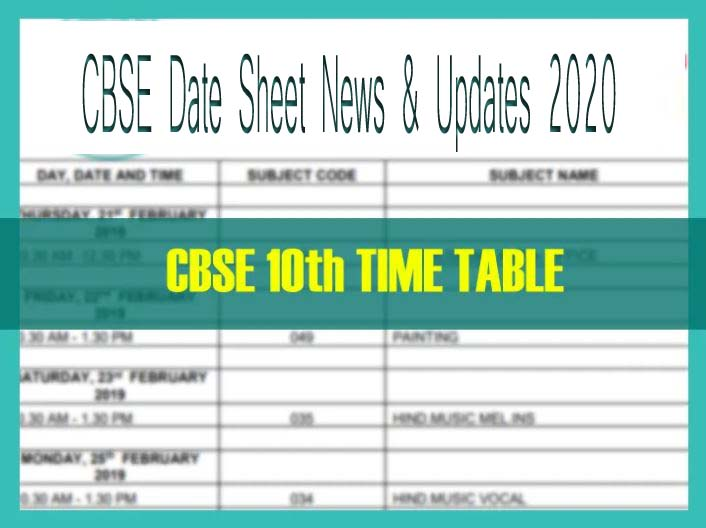 CBSE 10th Date Sheet 2020