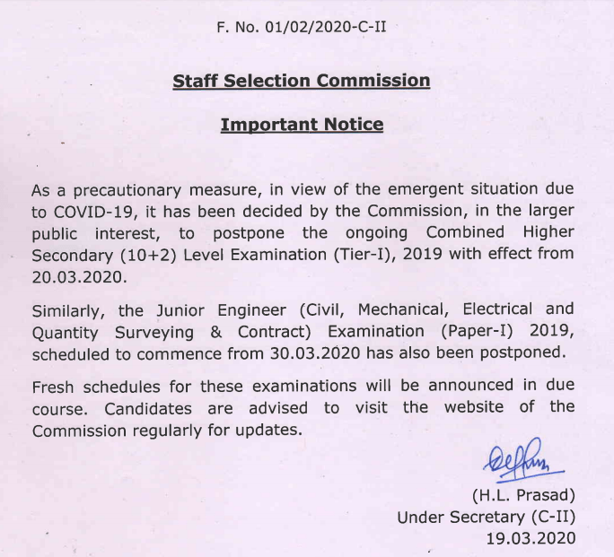 SSC CHSL Exam Date Notice