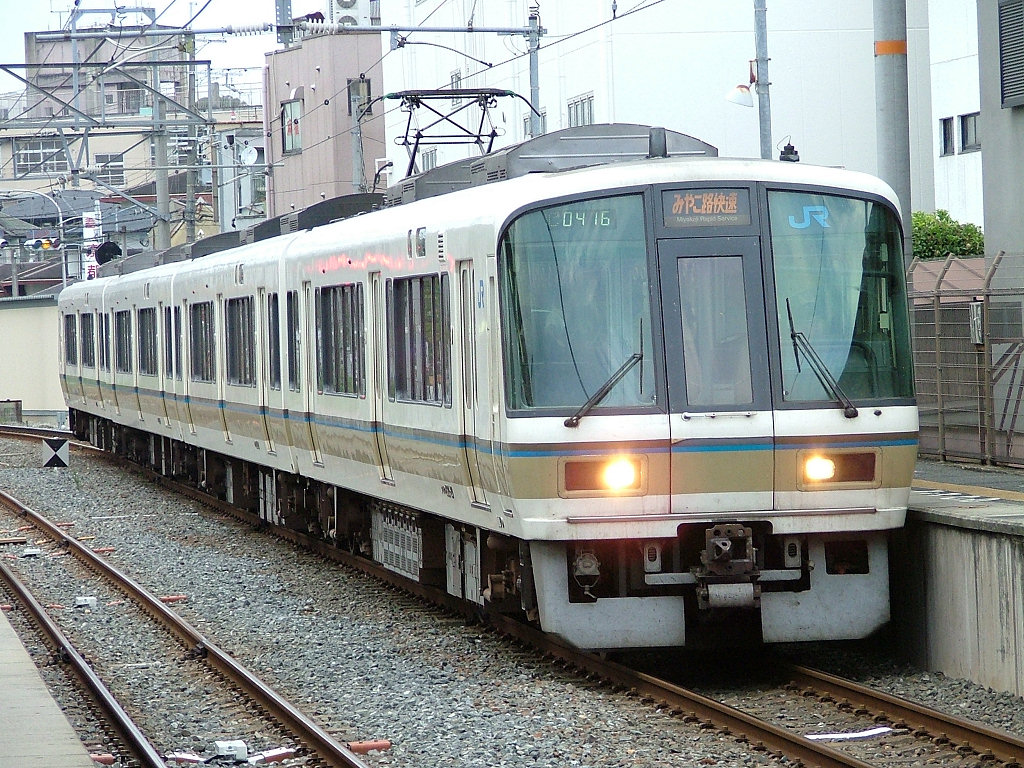 Miyakoji Rapid Service is operated by JR West 221 series.