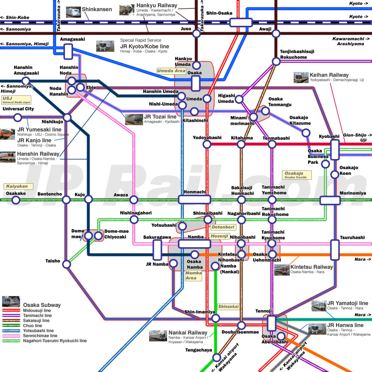 Guide to take trains in Osaka. How to choose the best route by train to get the major spots?