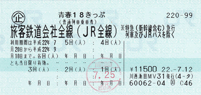 Seishun 18 kippu, Unlimilited ride deal of local and rapid trains on all JR lines