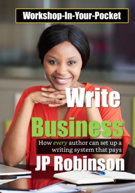 The cover of JP Robinson's book Write Business. A woman sits at a desk preparing to write.