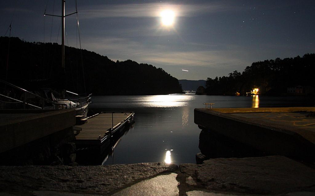 Månelyst på fjorden