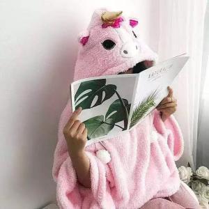 英國單!蝙蝠袖 獨角獸 獨角馬 UNICORN 睡衣 居家服 上衣 可愛 粉紅色 珊瑚絨 毛毛 毛公仔 FREESIZE 鬆身 寬鬆 PAJAMAS 衛衣 斗篷