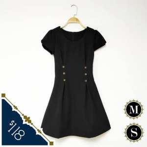 日本單 細碼 中碼 黑色 春夏 連身裙 短袖裙 Dress
