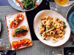 Calamari and bruschetta