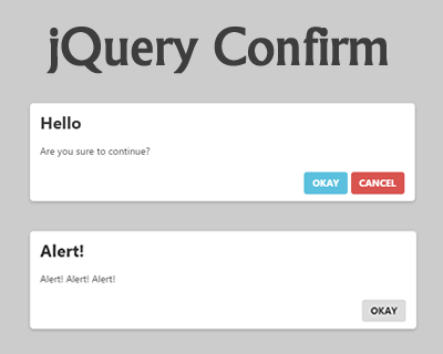 jQuery Confirm – Multipurpose Web Alert & Confirm