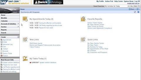 SAP OnDemand Screenshot