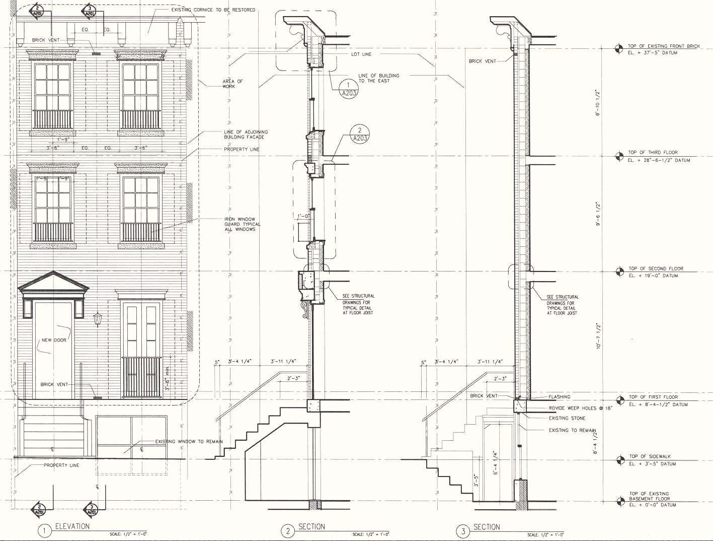Front Facade & Wall Section Drawings Schacter
