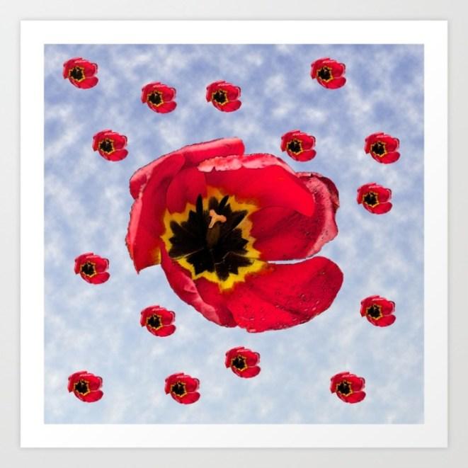 tulips, blooms, blue sky, art, graphic design,