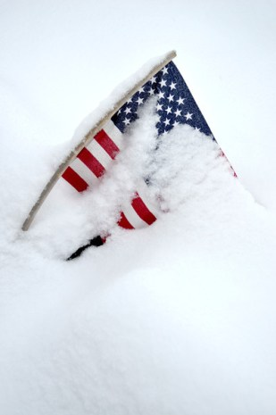 Buried Flag: Snow Day Photography